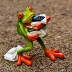 Frog carrying and dropping too many papers