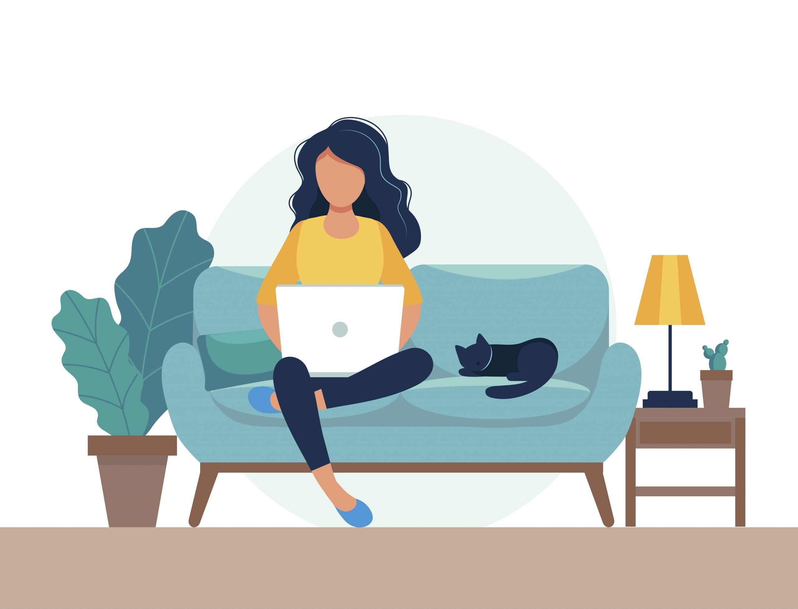 Woman sat on sofa with laptop. 9 strategies that work for working from home